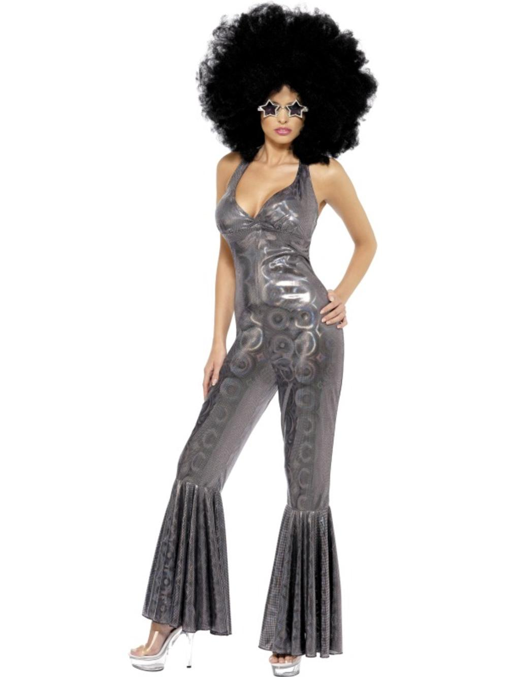 70s Disco Diva Ladies Fancy Dress Groovy 1970s Flared Jumpsuit Adults Costume