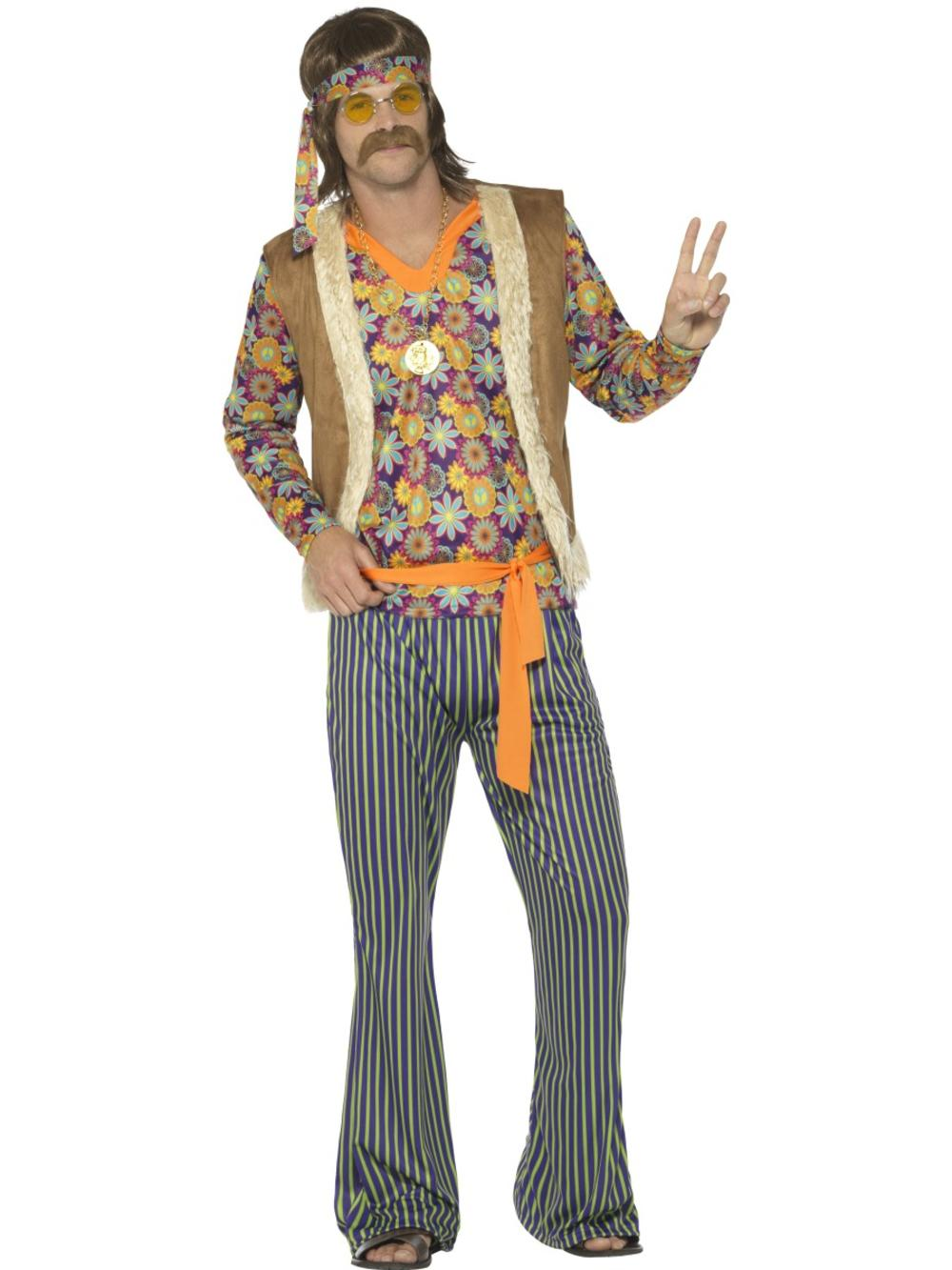 60's Hippie Mens Fancy Dress Psychedelic Peace Groovy 70s Hippy Adults Costume