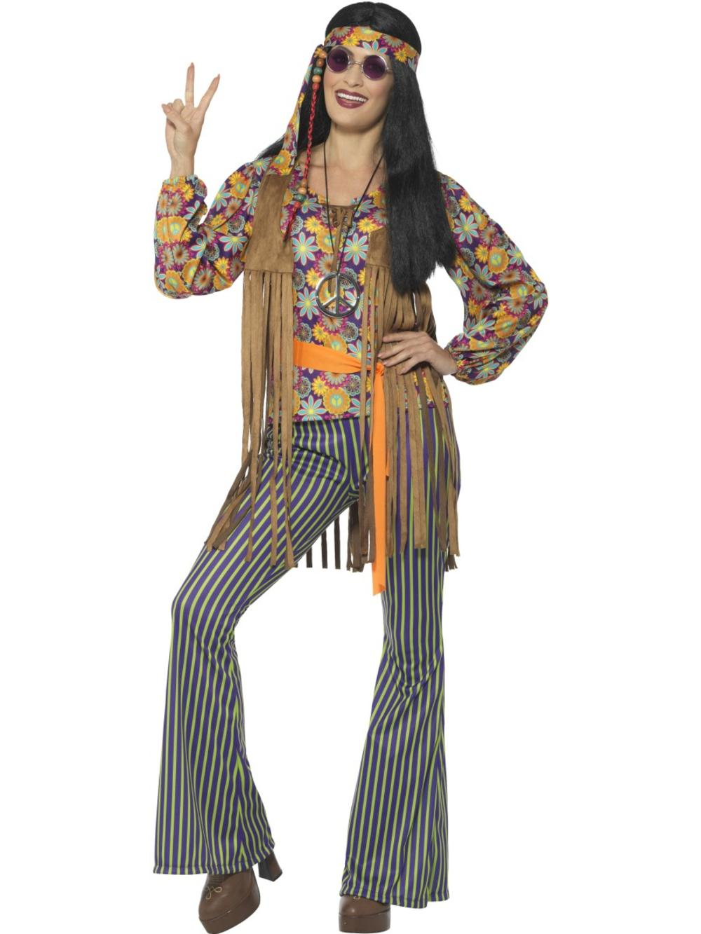 60's Hippie Ladies Fancy Dress Groovy Psychedelic Peace 70s Hippy Adults Costume