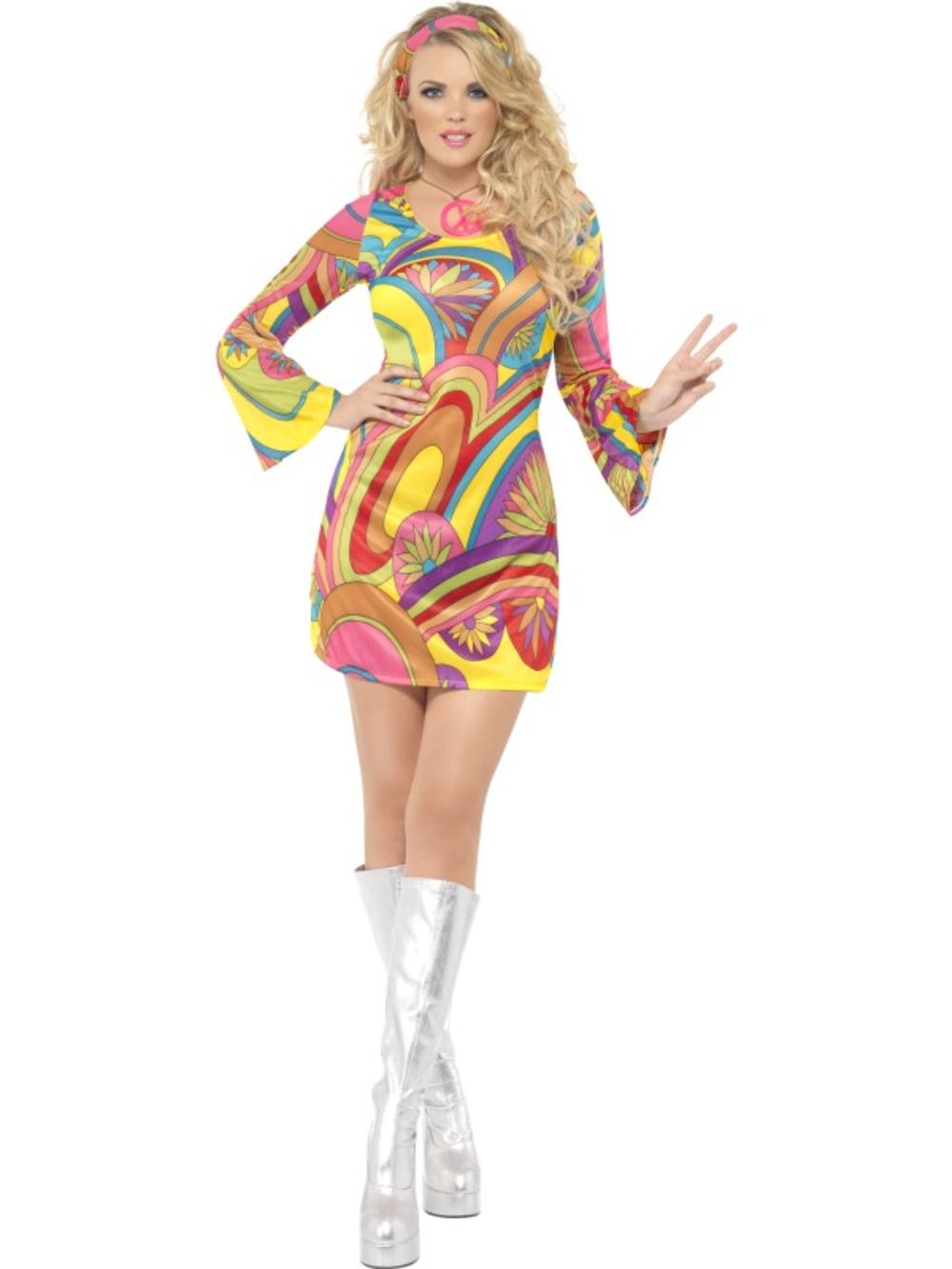 70s Flower Power Hippy Ladies Fancy Dress Hippie Groovy Womens Adult Costume New