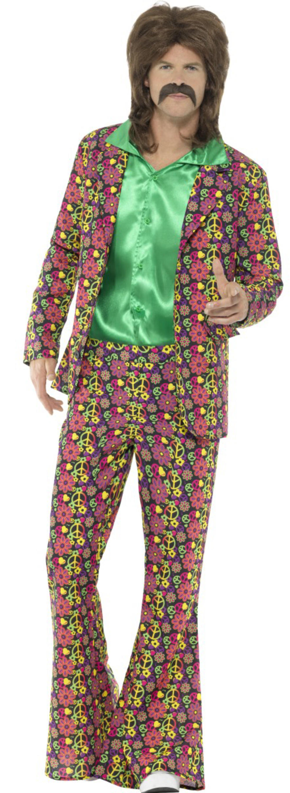 60s Psychedelic CND Hippie Suit Mens Fancy Dress 70s Groovy Hippy Adults Costume