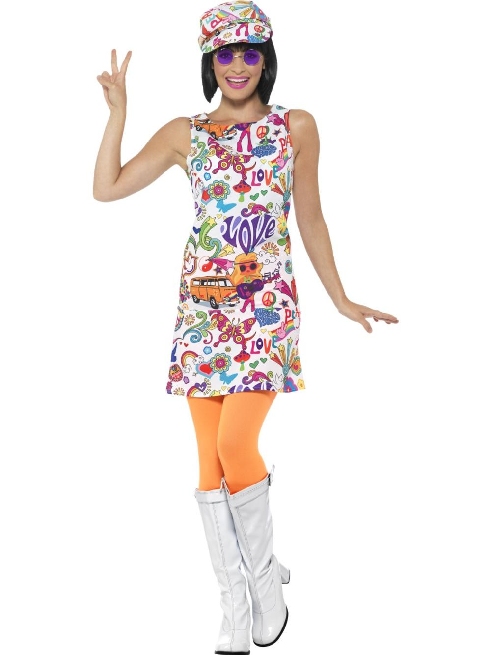 60's Groovy Chick Ladies 70s Fancy Dress Psychedelic Retro Hippy Adult Costume