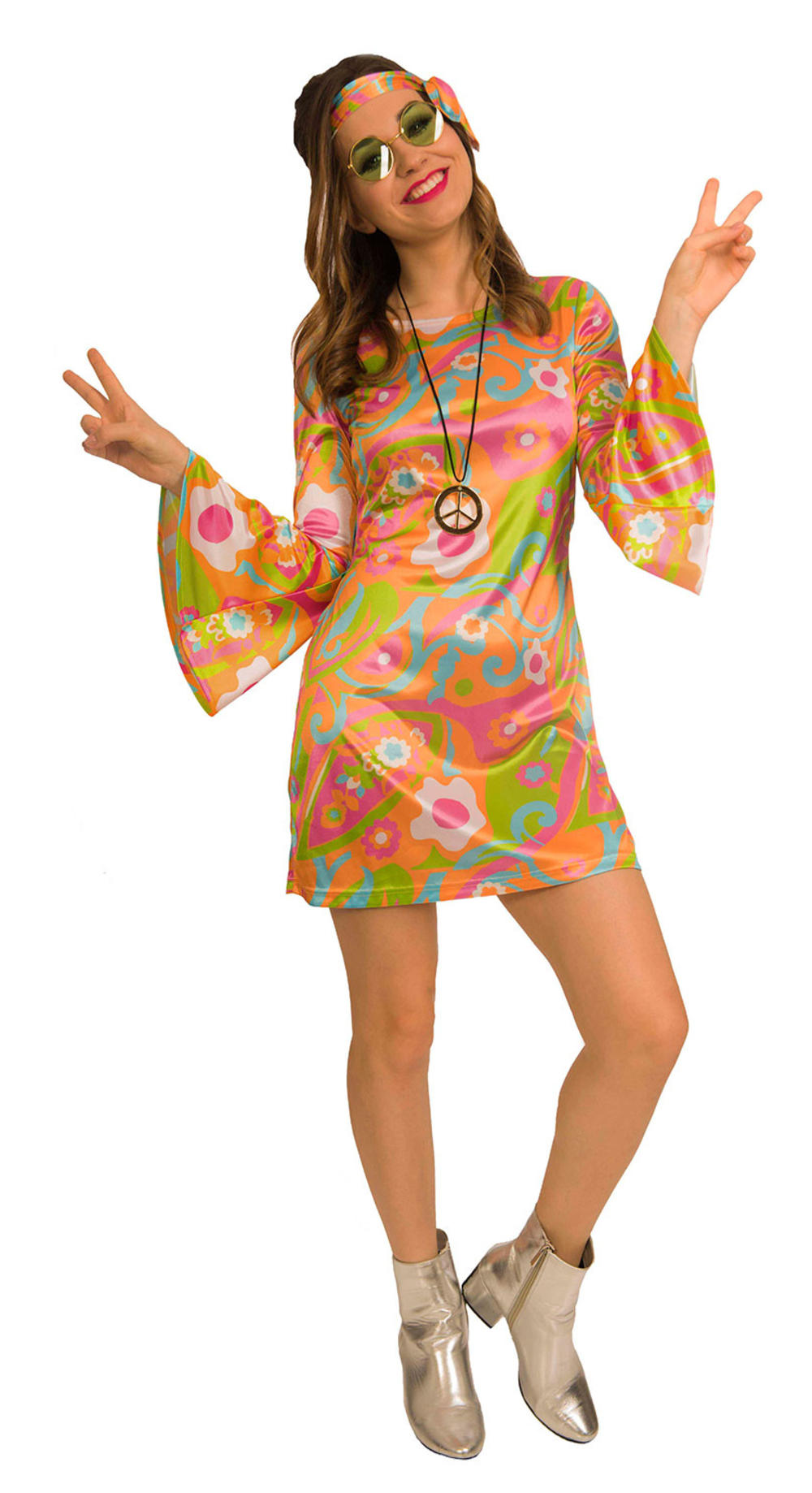 60s Groovy Hippy Babe Ladies Costume 1960s 70s Retro Hippy Adults Costume Outfit