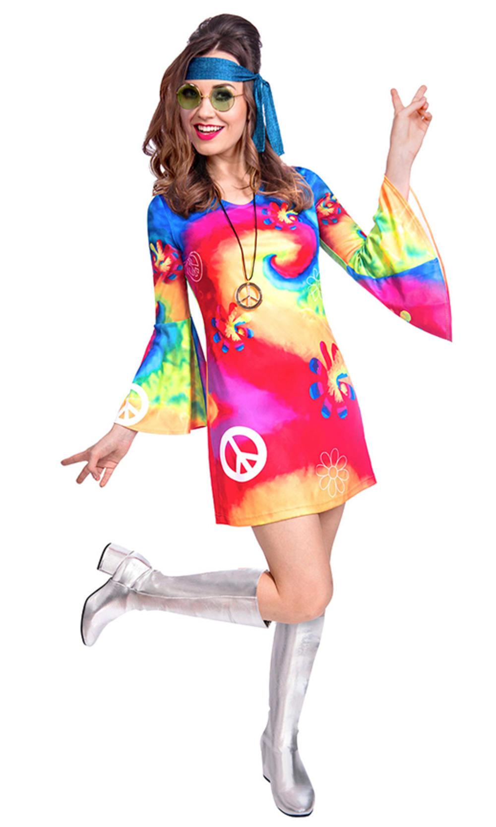 60s Free Spirit Woman Ladies Fancy Dress Tie Dye Peace Hippie Adults Costume