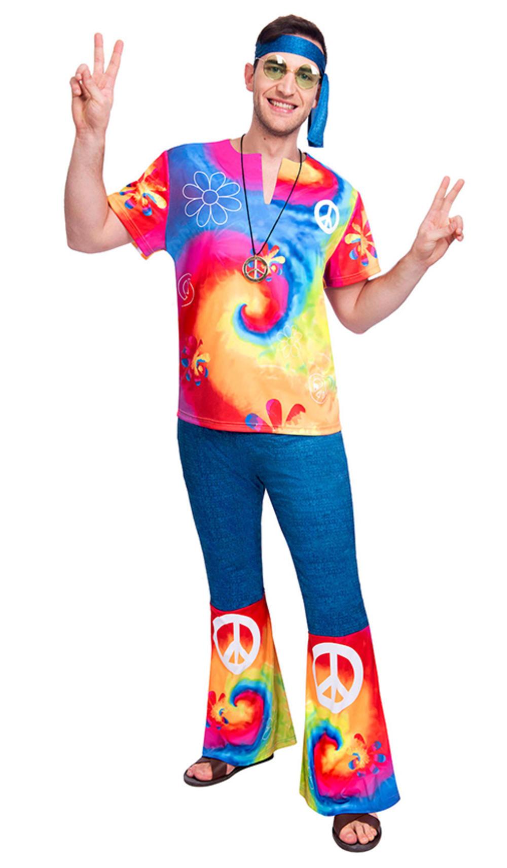 60s Free Spirit Man Mens Fancy Dress 1960s Tie Dye Hippie Adults Costume Outfit
