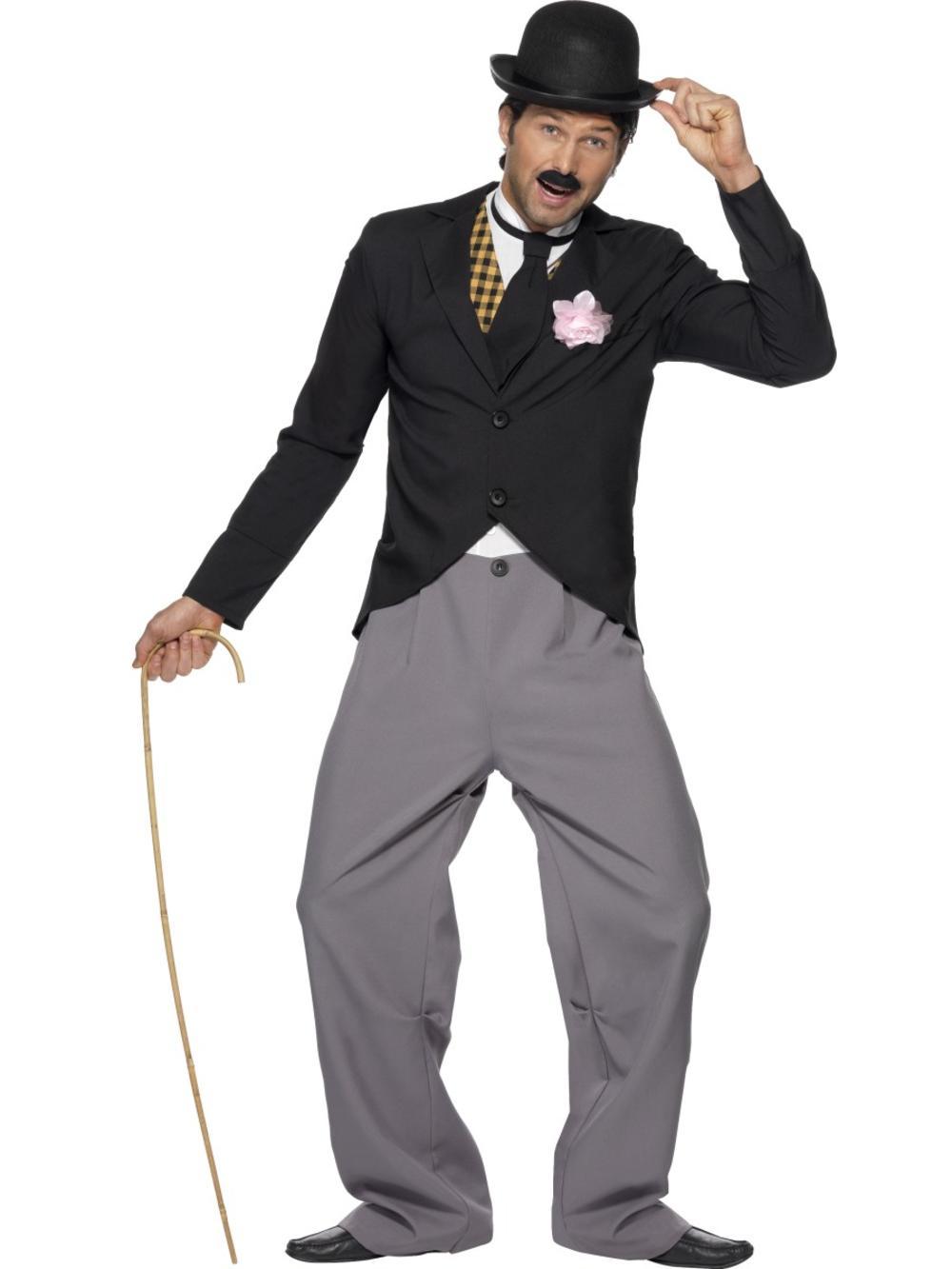 Charlie Chaplin Mens Fancy Dress 1920s 20s Silent Film Movie Star Adults Costume