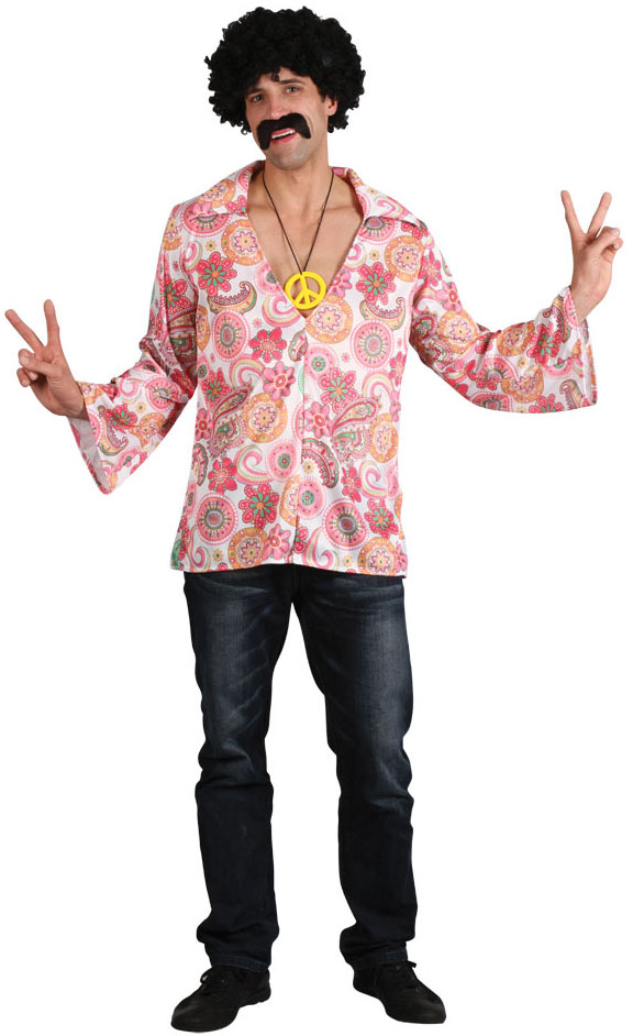 Menu0026#39;s Retro Hippie Shirt Costume | 60s Costumes | Mega Fancy Dress