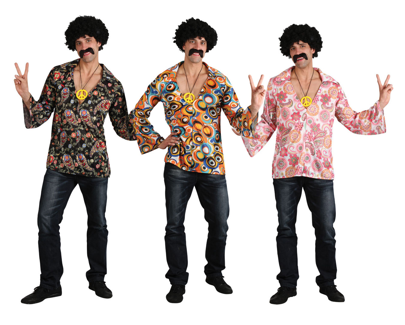 1960s Hippie Shirt Mens Fancy Dress 60s Groovy Retro Hippy Adults Costume Outfit