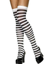 Black and White Striped Halloween Stockings Costume Accessory