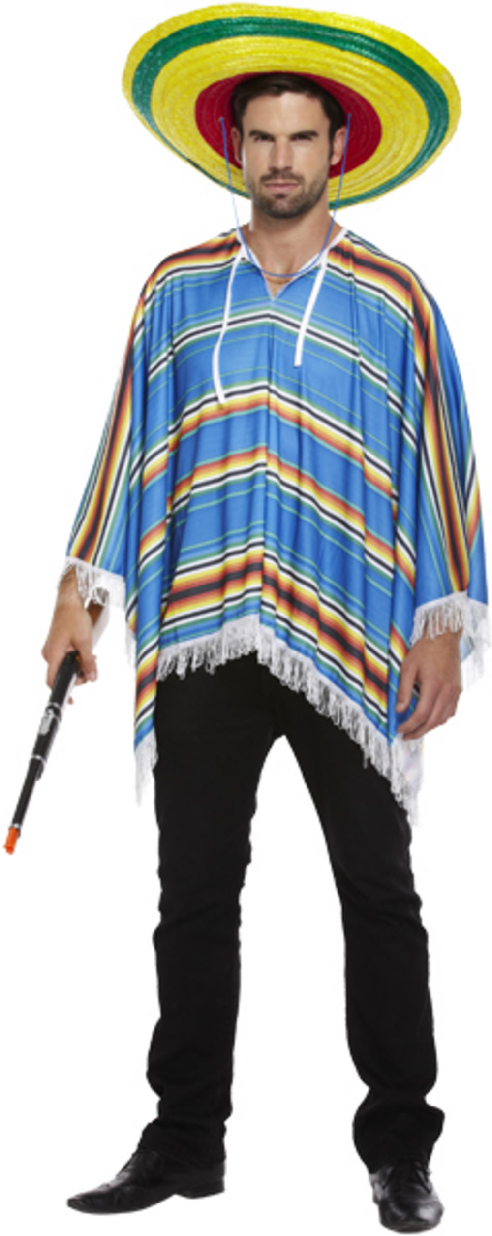 Blue Poncho Mexican Costume