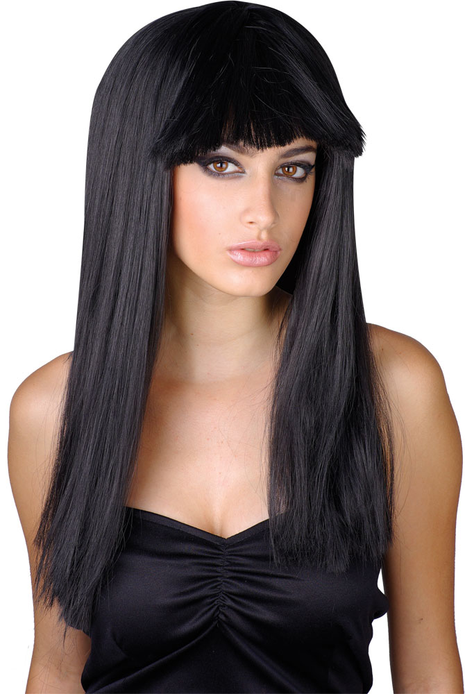 Long Black Fringe Halloween Wig Ladies Fancy Dress Wigs