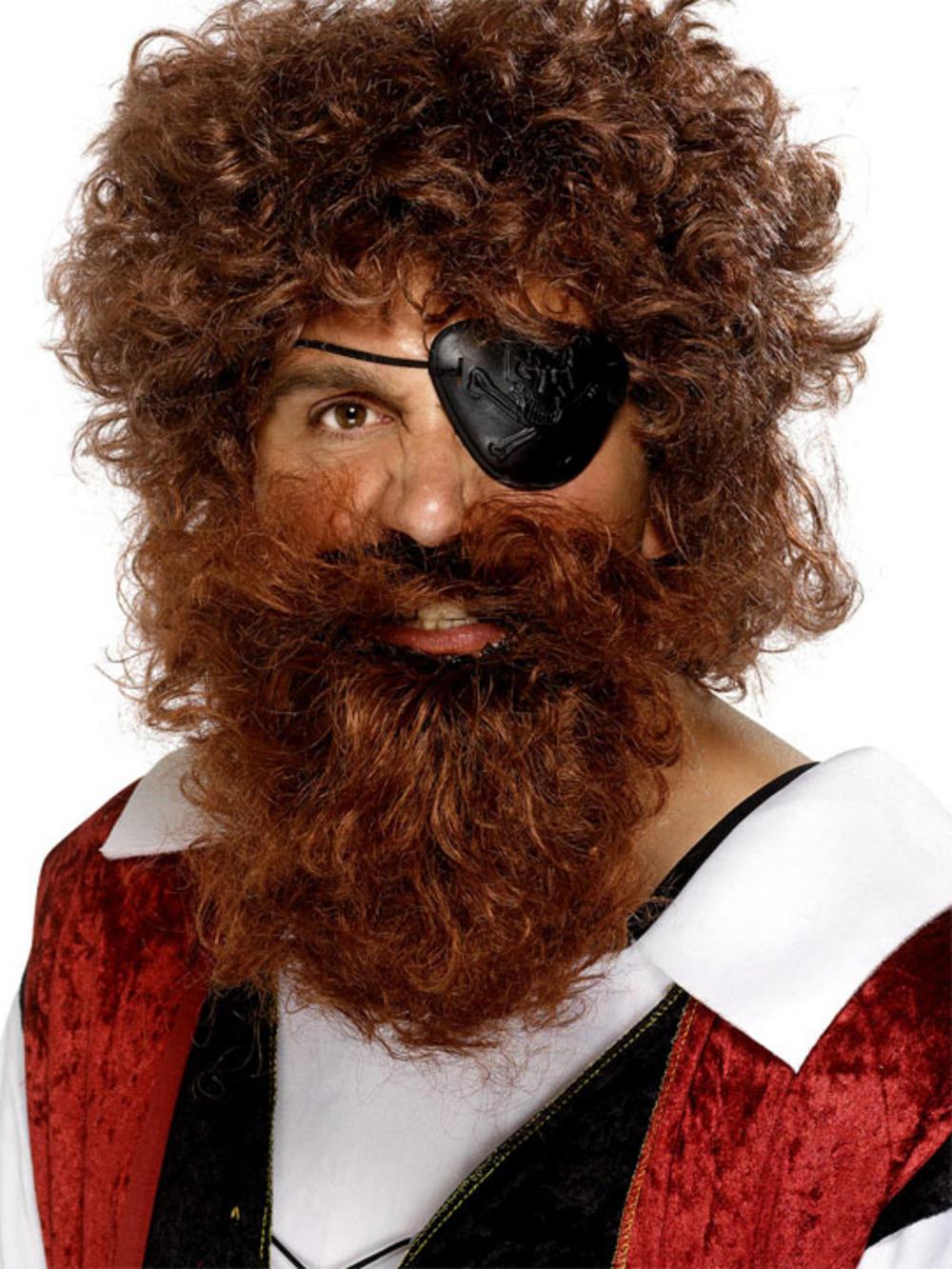 Deluxe Brown Pirate Beard Men S Fancy Dress Wigs Mega