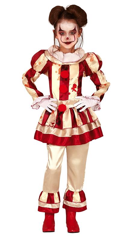 Details About Striped Killer Clown Girls Fancy Dress Evil Halloween Circus Horror Kids Costume