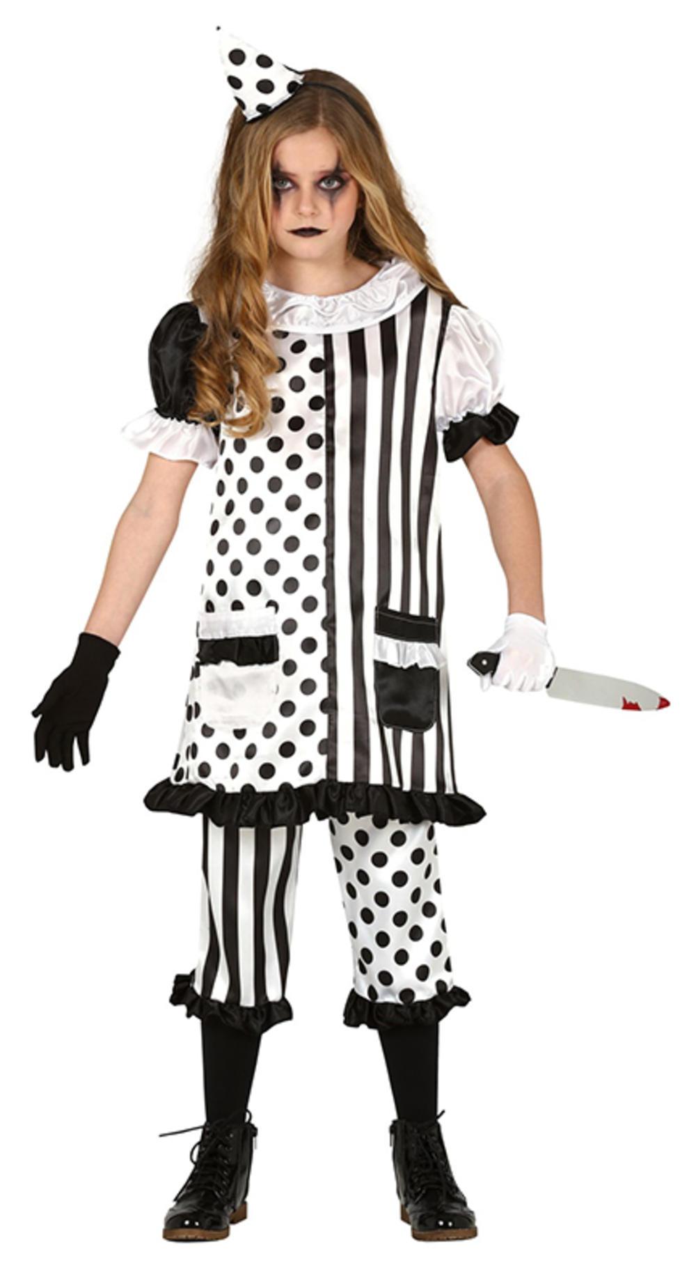 Girls Pierrot Clown Costume