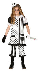 Girls Pierrot Clown Costume