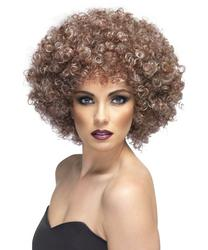 Natural Brown 70s Afro Highlighted Wig