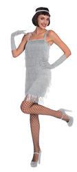 Silver Flapper Dress Ladies Costume