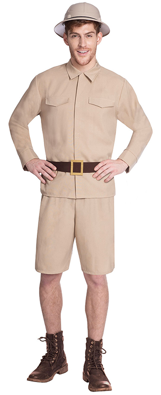 ADULT SAFARI JUNGLE EXPLORER ZOO KEEPER DRESS UP OUTFIT mens fancy dress costume