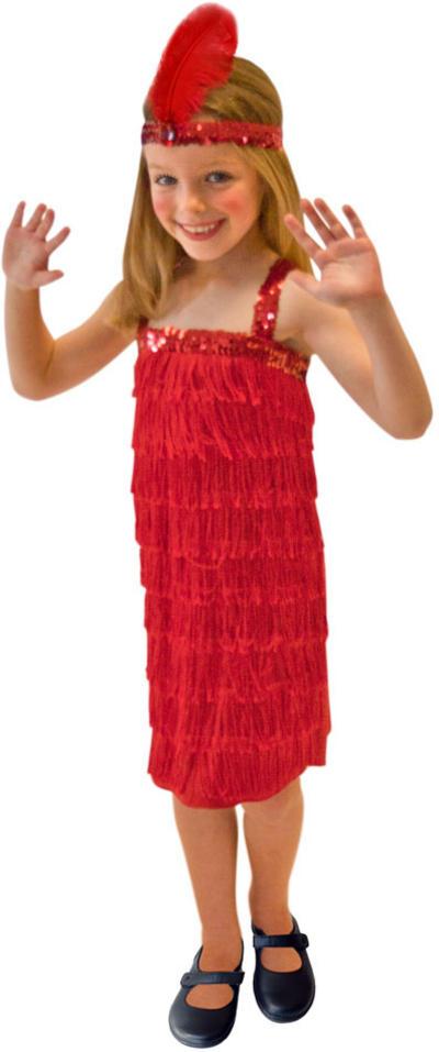 Girls Red Fringe Flapper Costume