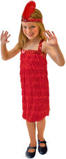 Girls Red Fringe Flapper Costume