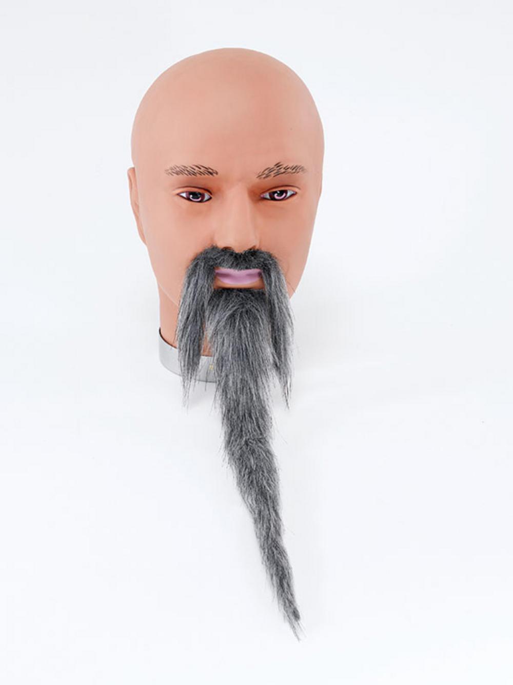 Grey Wizard Beard and Tash Set