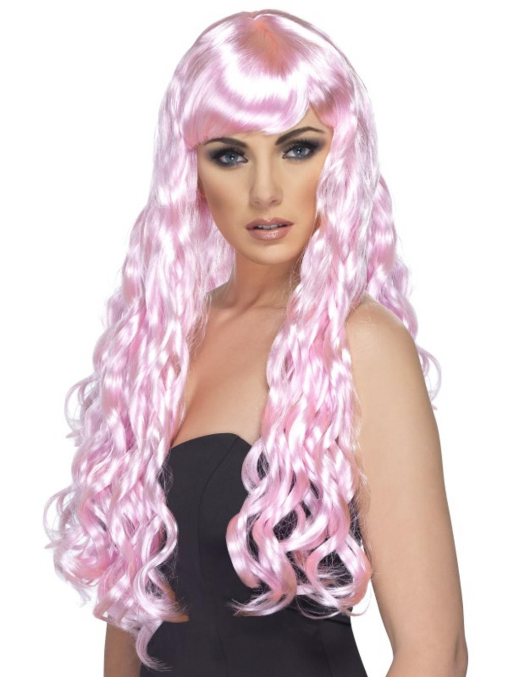 Candy Pink Long Curly Wig
