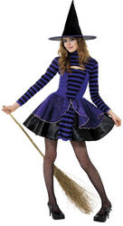 Girls Teen Stripe Dark Fairy Witch Costume
