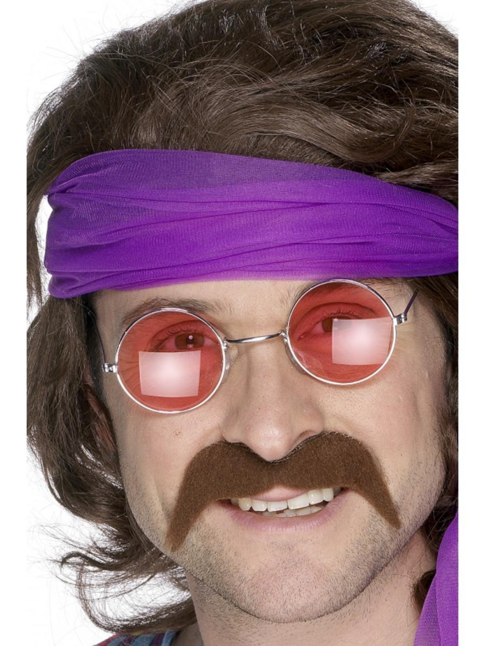 Mens 1970s Brown Moustache