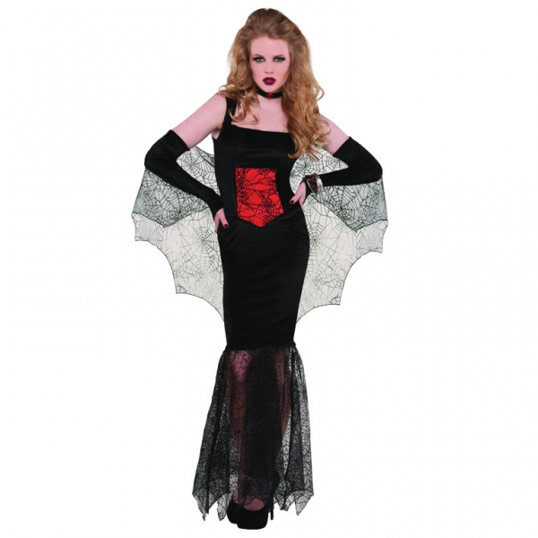 ladies black widow seductress fancy dress costume