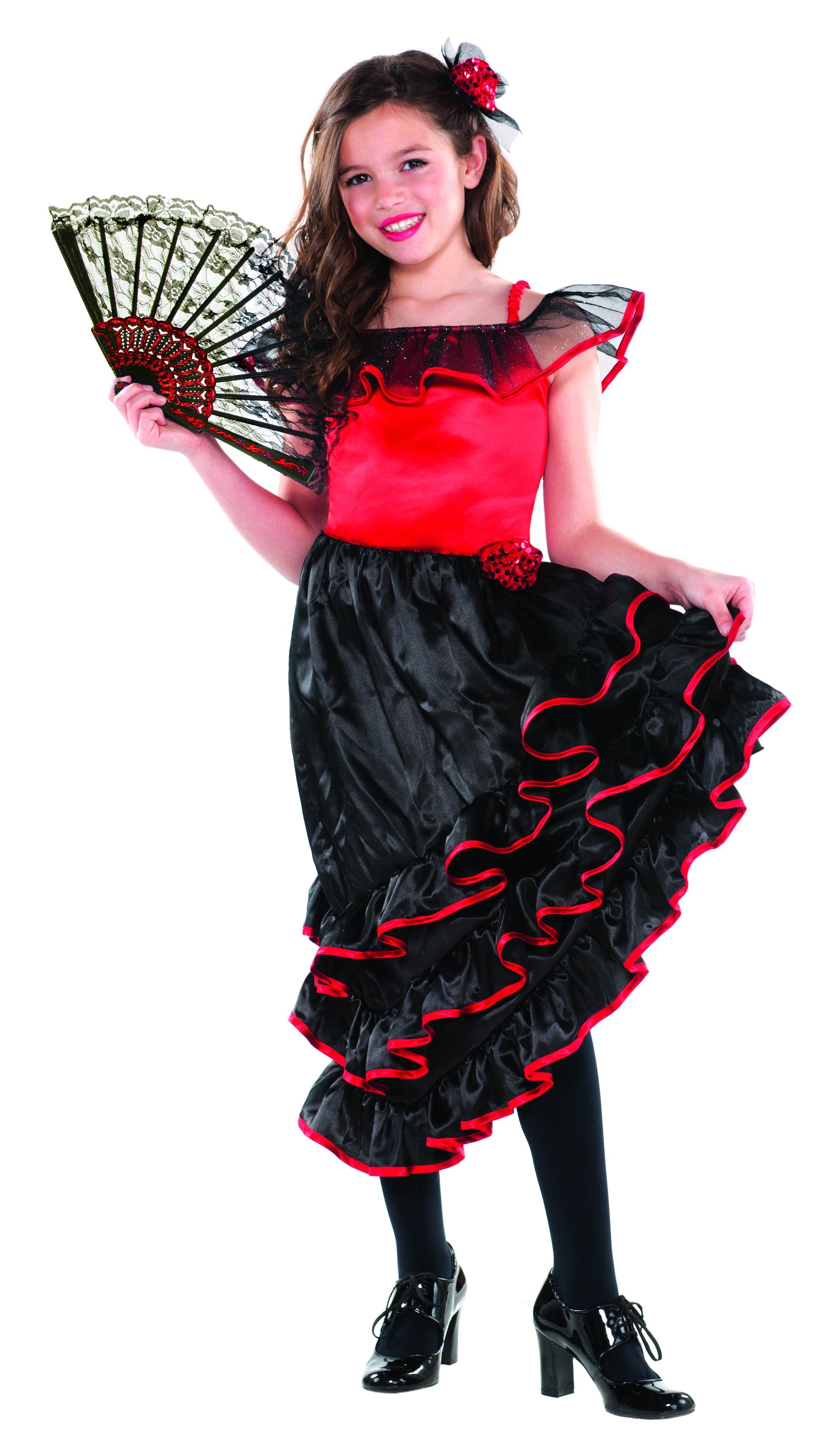 5bc43a2d902a1 Girls' Spanish Flamenco Dancer Fancy Dress Costume | National Dress Costumes  | Mega Fancy Dress