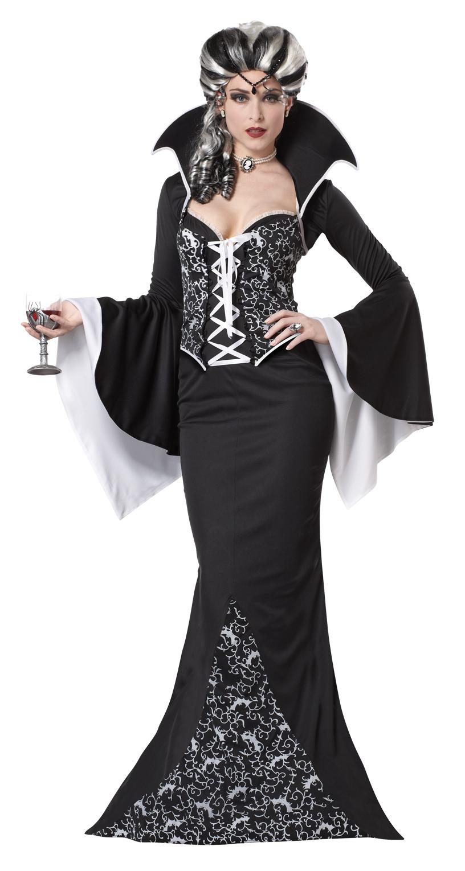 deluxe royal vampiress ladies halloween fancy dress black