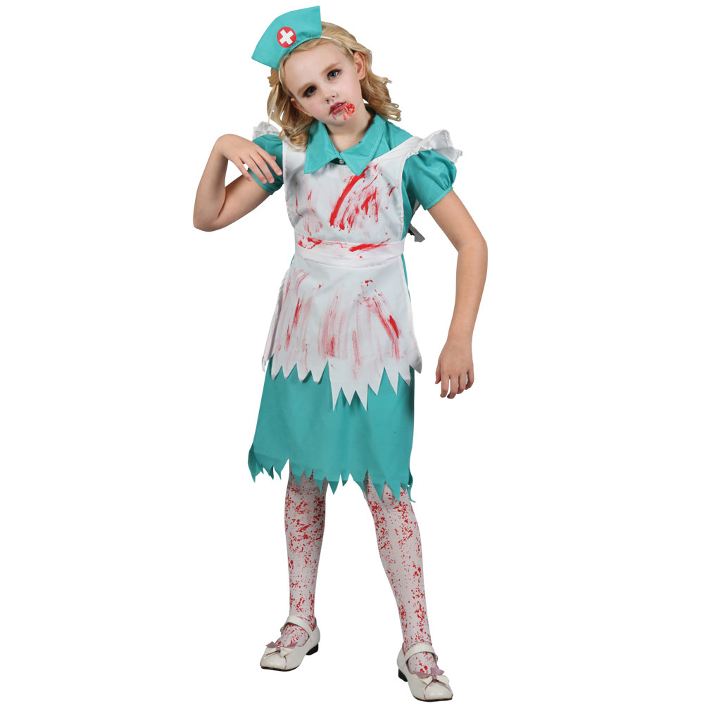 Halloween Zombie Costumes For Girls.Girls Zombie Nurse Fancy Dress Costume