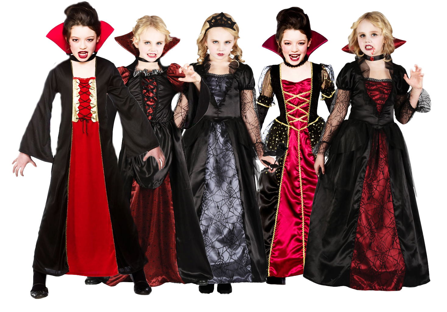 Girls Wicked Queen Vampire Princess Halloween Kids Fancy Dress ...