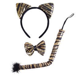 Black and Gold Sequin Tiger Set