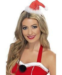 Deluxe Mini Santa Hat on Headband