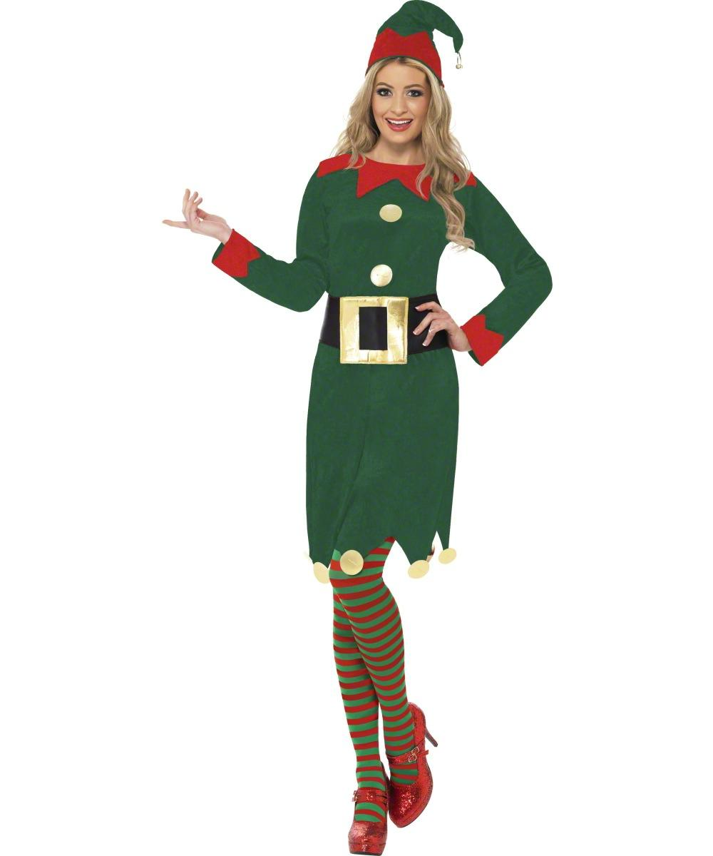 Ladies Elf Dress Christmas Fancy Dress Costume