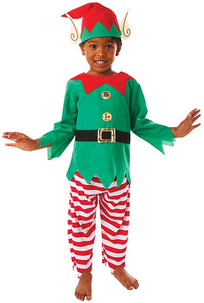 09e6ae5f7 Sentinel Elf Kids Santas Little Helper Christmas Fancy Dress Boys Girls  Costume + Hat