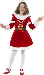 Kids Miss Santa Christmas Fancy Dress Costume