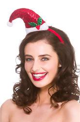 Sequin Santa Hat on Headband