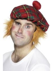Red Tartan Hat with Hair