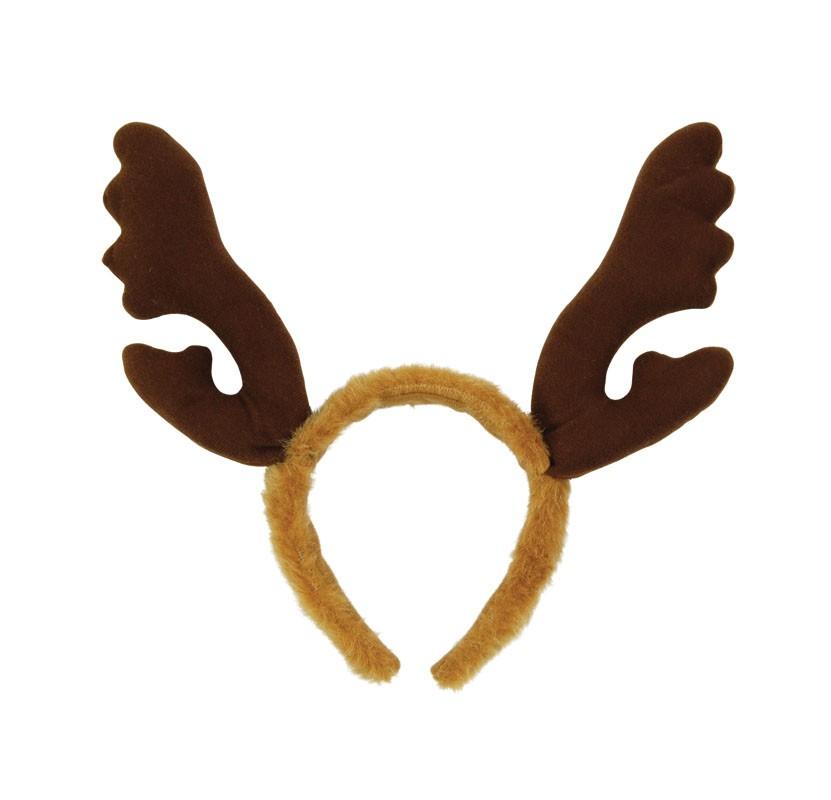 Reindeer Antlers with Brown Fur Headband   Christmas Accessories ...