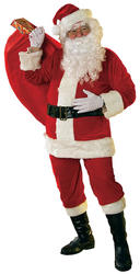 Santa Claus Fancy Dress Costume,Velour Santa Suit,Father Xmas Costumes