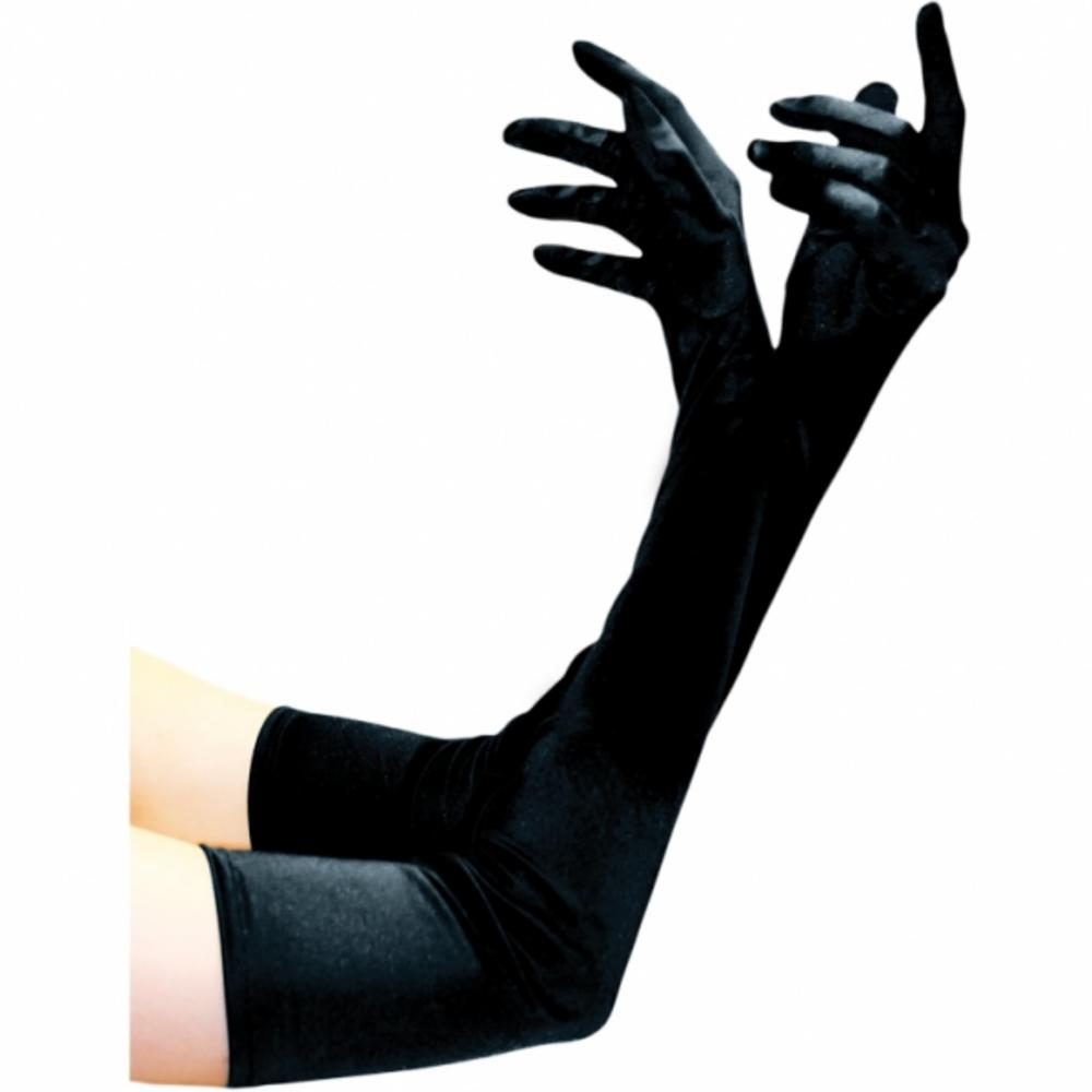 Black Satin Gloves Costume Halloween Make