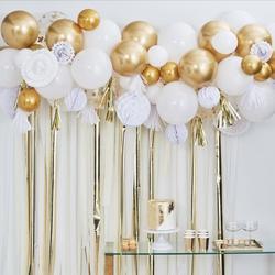 Gold Balloon & Fan Garland Backdrop