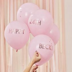 Pink & Rose Gold Personalised Balloons Kit