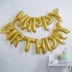 Gold Happy Birthday Foil Balloon Bunting