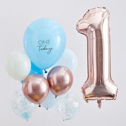 Blue & Rose Gold 1st Birthday Balloons