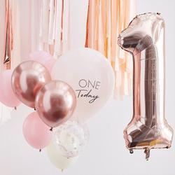 Pink & Rose Gold 1st Birthday Balloons