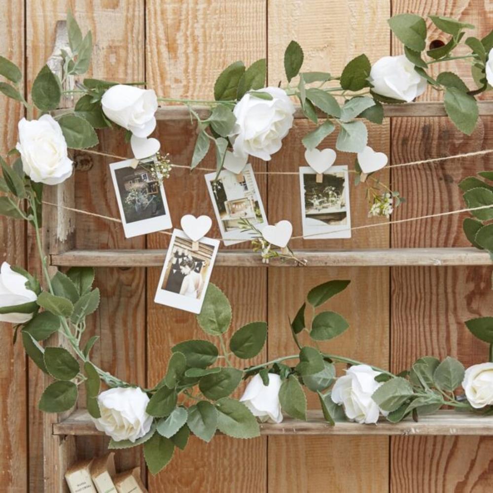 White Rose Artificial Foliage Garland