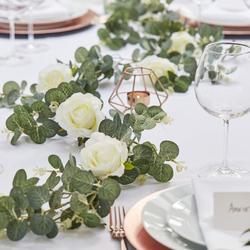 Artificial Eucalyptus & White Roses Garland